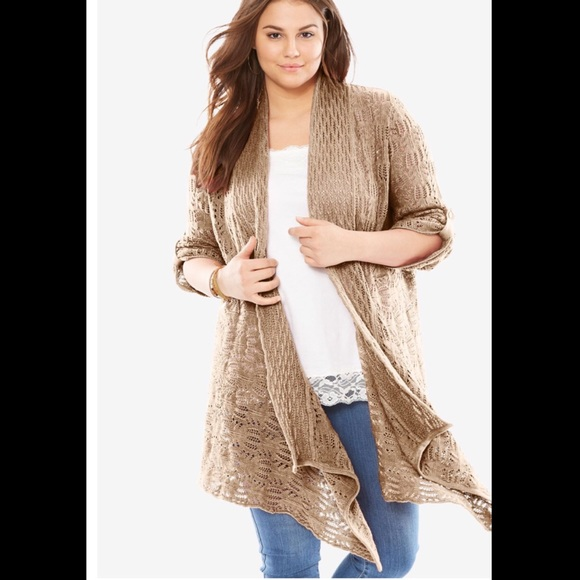 43c9ea2c8fa ... Open Front Pointelle Cardigan. M 5bbfc131f63eead868575742